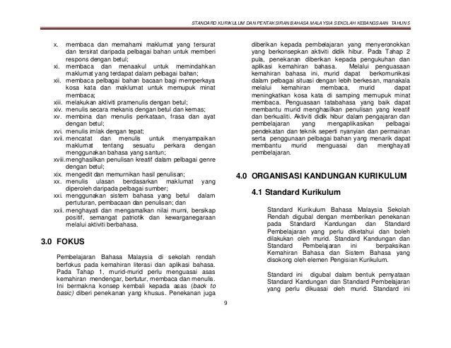 STANDARD KURIKULUM DAN PENTAKSIRAN BAHASA MALAYSIA SEKOLAH KEBANGSAAN TAHUN 5 9 x. membaca dan memahami maklumat yang ters...