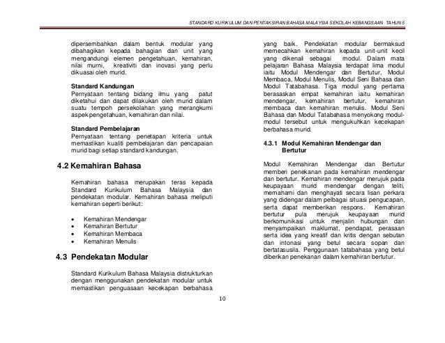 STANDARD KURIKULUM DAN PENTAKSIRAN BAHASA MALAYSIA SEKOLAH KEBANGSAAN TAHUN 5 10 dipersembahkan dalam bentuk modular yang ...