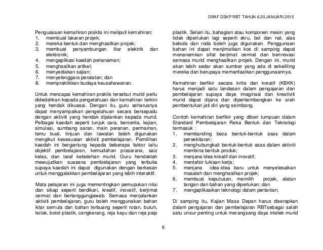 DRAF DSKP RBT TAHUN 6 20 JANUARI 2015 8 Aktiviti yang dicadangkan dalam buku ini merupakan aktiviti contoh untuk membolehk...