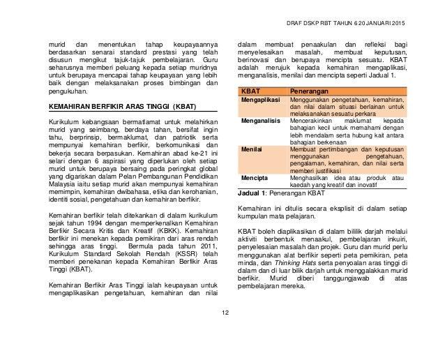 DRAF DSKP RBT TAHUN 6 20 JANUARI 2015 14 Pendekatan modular tetap menekankan penggabungjalinan disiplin ilmu yang terdapat...