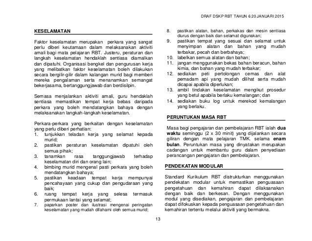 DRAF DSKP RBT TAHUN 6 20 JANUARI 2015 15 STANDARD KURIKULUM DAN PENTAKSIRAN REKA BENTUK DAN TEKNOLOGI (RBT) TAHUN 6 4. PEN...