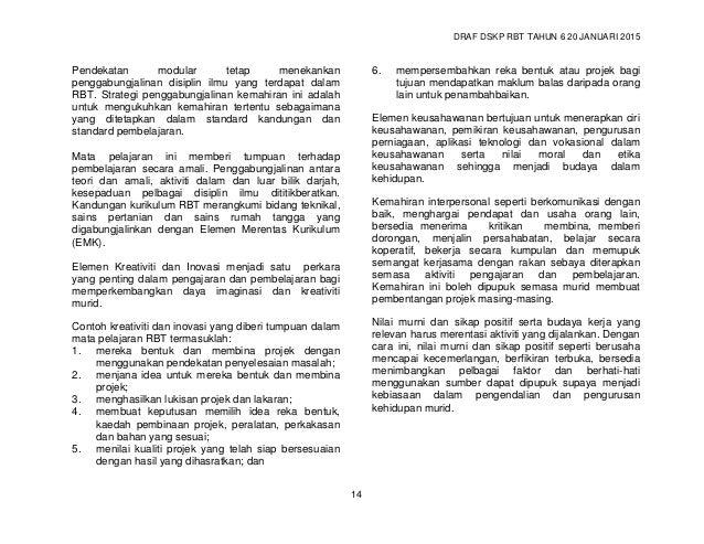 DRAF DSKP RBT TAHUN 6 20 JANUARI 2015 16 4. PENGHASILAN PROJEK STANDARD KANDUNGAN STANDARD PEMBELAJARAN STANDARD PRESTASI ...