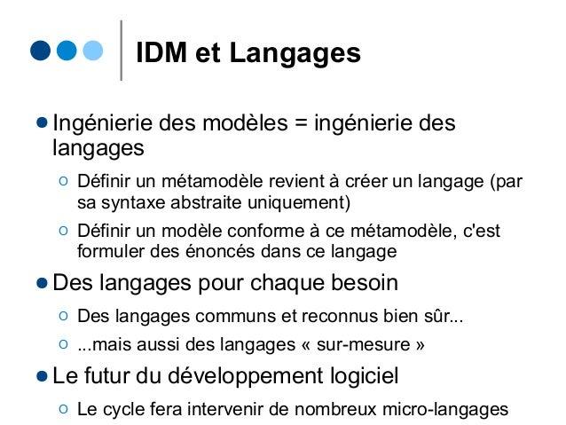 IDM et Langages ● Ingénierie des modèles = ingénierie des langages Ο Définir un métamodèle revient à créer un langage (par...