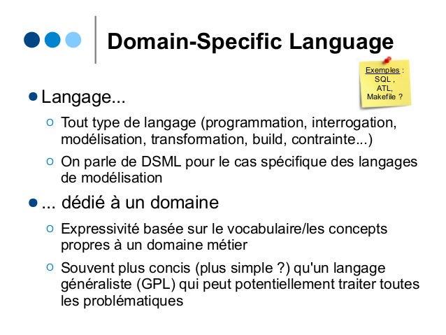 Domain-Specific Language ● Langage... Ο Tout type de langage (programmation, interrogation, modélisation, transformation, ...