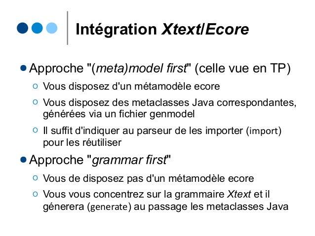 """Intégration Xtext/Ecore ● Approche """"(meta)model first"""" (celle vue en TP) Ο Vous disposez d'un métamodèle ecore Ο Vous disp..."""