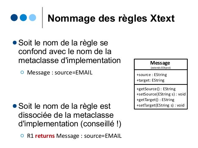Nommage des règles Xtext ● Soit le nom de la règle se confond avec le nom de la metaclasse d'implementation Ο Message : so...