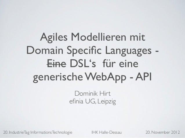 Agiles Modellieren mit Domain Specific Languages Slide 3