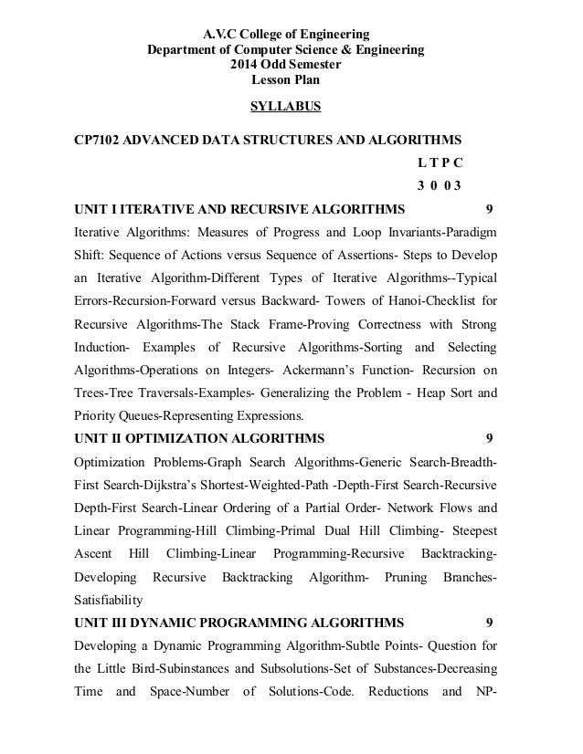 A.V.C College of Engineering Department of Computer Science & Engineering 2014 Odd Semester Lesson Plan SYLLABUS CP7102 AD...