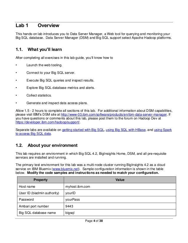 Big Data: Big SQL web tooling (Data Server Manager) self
