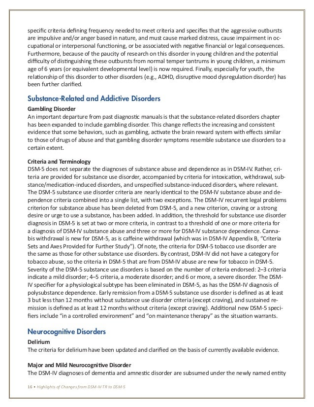 DSM 5 changes- (APA 2013) Highlighted changes from the DSM ...