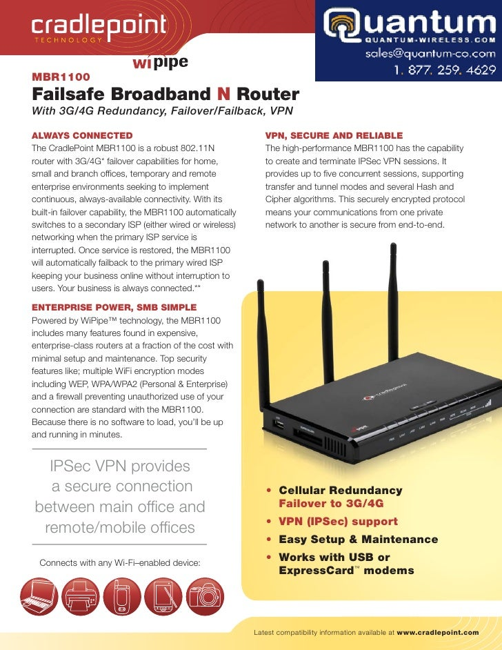 TECH NOLOGY     MBR1100 Failsafe Broadband N Router With 3G/4G Redundancy, Failover/Failback, VPN  ALWAYS CONNECTED       ...