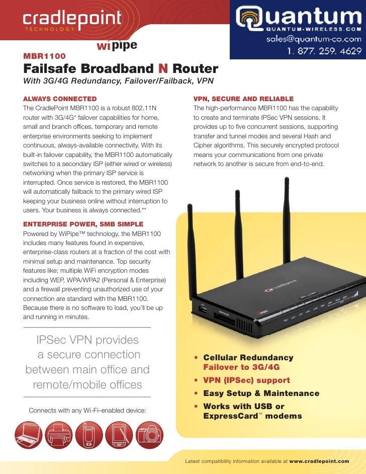 TECH NOLOGY     MBR1100 Failsafe Broadband N Router With 3G/4G Redundancy, Failover/Failback, VPN  ALWAYS CONNECTED       ...