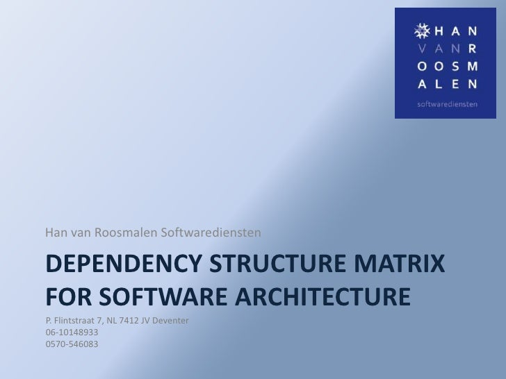 DependencyStructure Matrix for software architecture<br />Han van Roosmalen Softwarediensten<br />P. Flintstraat 7, NL 741...