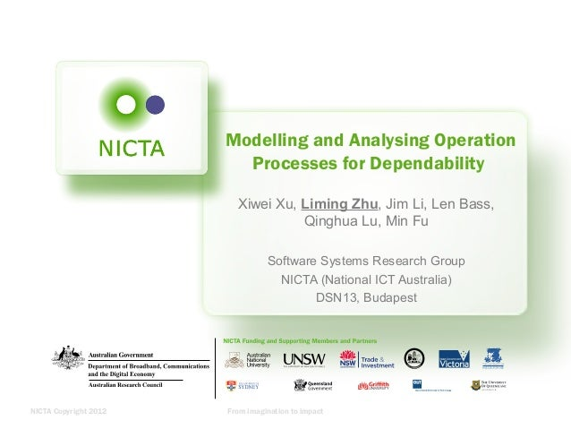 NICTA Copyright 2012 From imagination to impact Modelling and Analysing Operation Processes for Dependability Xiwei Xu, Li...