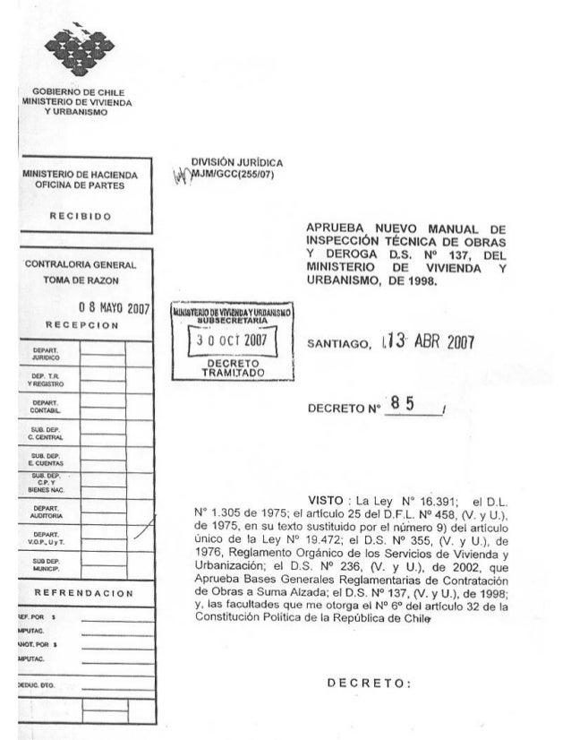 Manual de Inspección Técnica de Obras MINISTERIO DE VIVIENDA Y URBANISMO - División Técnica de Estudio y Fomento Habitacio...