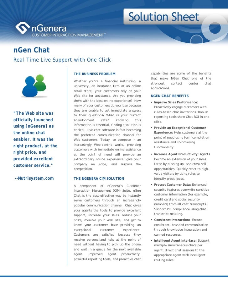 nGen Chat Real-Time Live Support with One Click                          THE BUSINESS PROBLEM                             ...