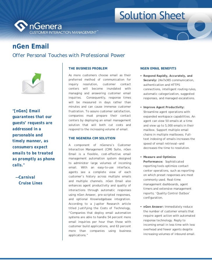 nGen Email Offer Personal Touches with Professional Power                         THE BUSINESS PROBLEM                    ...