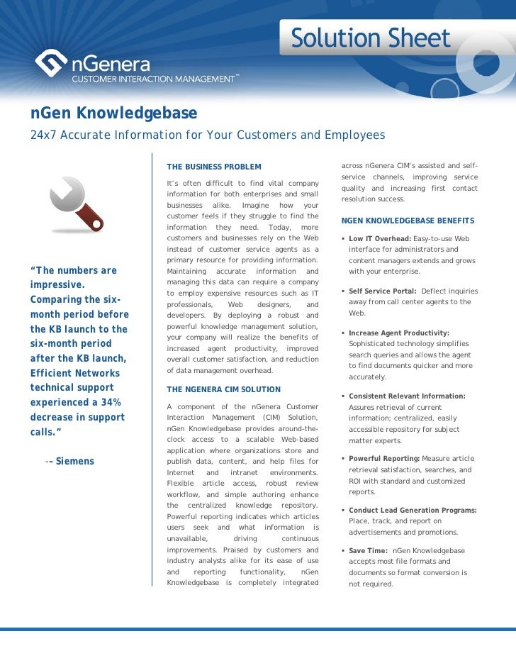 nGen Knowledgebase 24x7 Accurate Information for Your Customers and Employees                         THE BUSINESS PROBLEM...