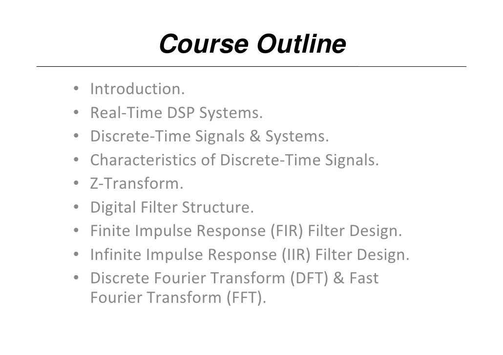 Dsp U Lec01 Real Time Dsp Systems