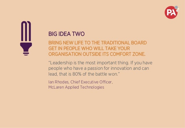 BIG IDEA TWO BRING NEW LIFE TO THE TRADITIONAL BOARD GET IN PEOPLE WHO WILL TAKE YOUR ORGANISATION OUTSIDE ITS COMFORT ZON...