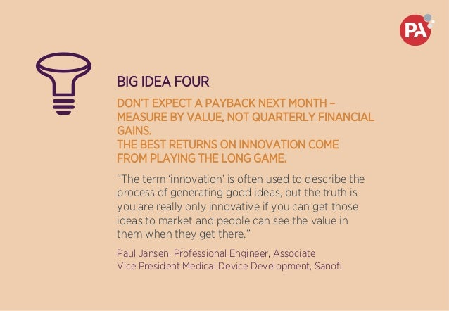 BIG IDEA FOUR DON'T EXPECT A PAYBACK NEXT MONTH – MEASURE BY VALUE, NOT QUARTERLY FINANCIAL GAINS. THE BEST RETURNS ON INN...