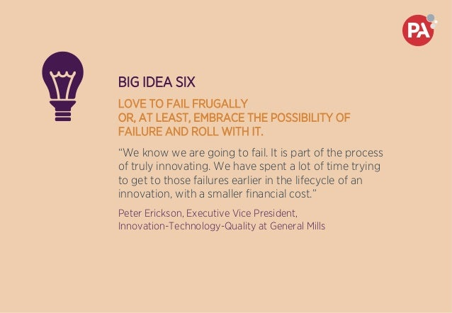 """BIG IDEA SIX LOVE TO FAIL FRUGALLY OR, AT LEAST, EMBRACE THE POSSIBILITY OF FAILURE AND ROLL WITH IT. """"We know we are goin..."""