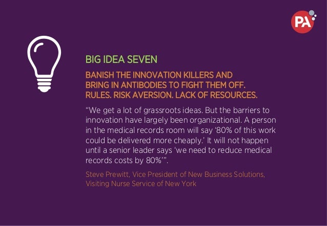 BIG IDEA SEVEN BANISH THE INNOVATION KILLERS AND BRING IN ANTIBODIES TO FIGHT THEM OFF. RULES. RISK AVERSION. LACK OF RESO...