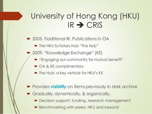 "University of Hong Kong (HKU)  IR  CRIS   2005. Traditional IR. Publications in OA   The HKU Scholars Hub ""The Hub""   ..."