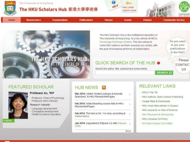 The HKU Scholars Hub (The Hub)  -- A Current Research Information System (CRIS)  HKU Sources  - Registry  - Research Servi...