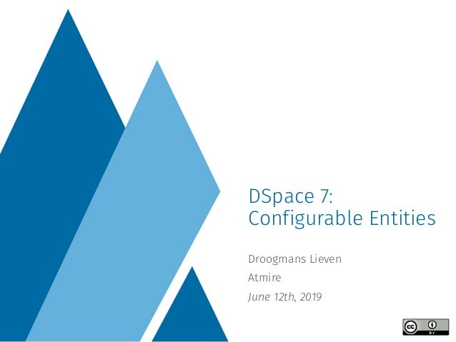 Droogmans Lieven Atmire June 12th, 2019 DSpace 7: Configurable Entities