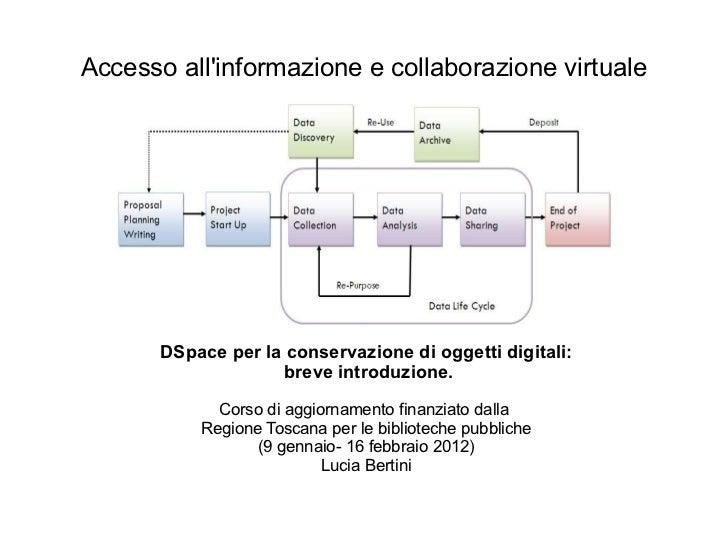 <ul>Accesso all'informazione e collaborazione virtuale </ul><ul><li>DSpace per la conservazione di oggetti digitali: