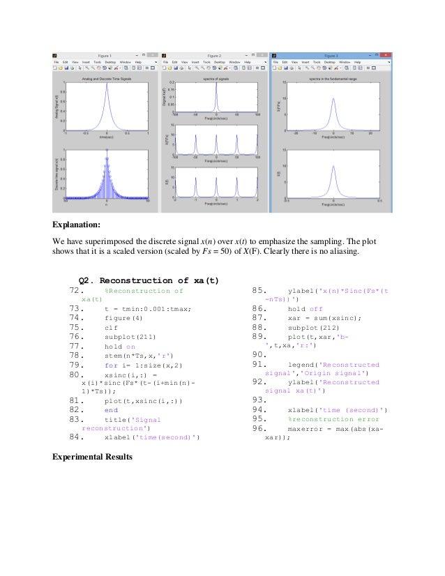 DIGITAL SIGNAL PROCESSING: Sampling and Reconstruction on MATLAB