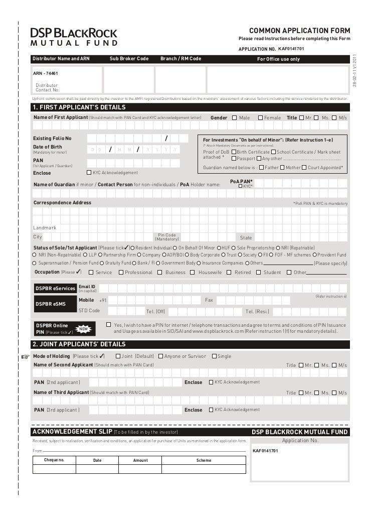 Dsp black rock tax saver fund application form