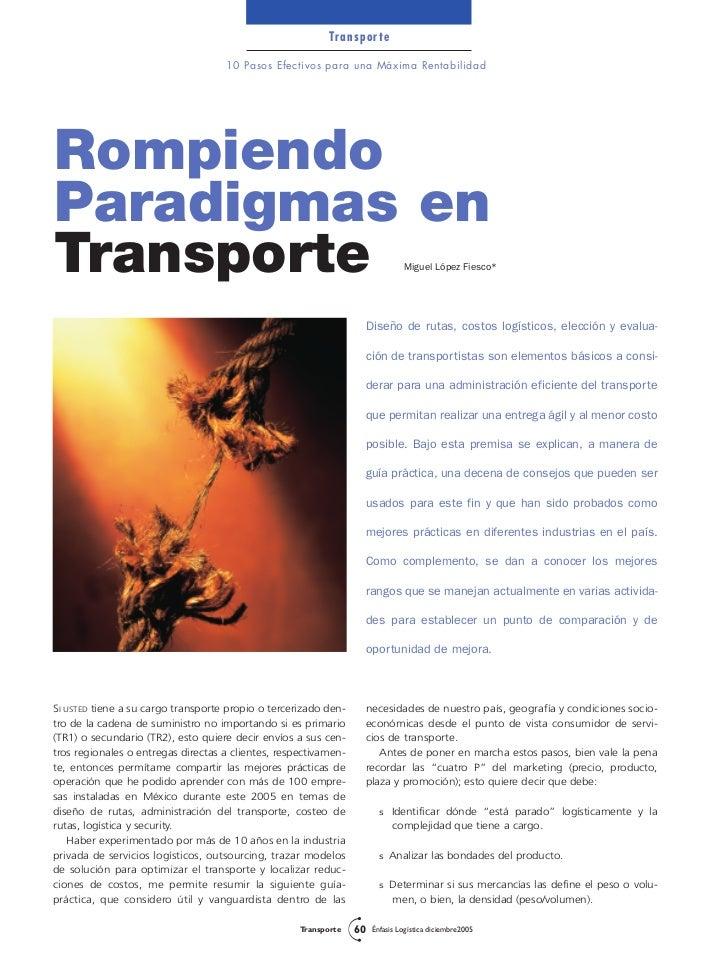 Transporte                                    10 Pasos Efectivos para una Máxima RentabilidadRompiendoParadigmas enTranspo...