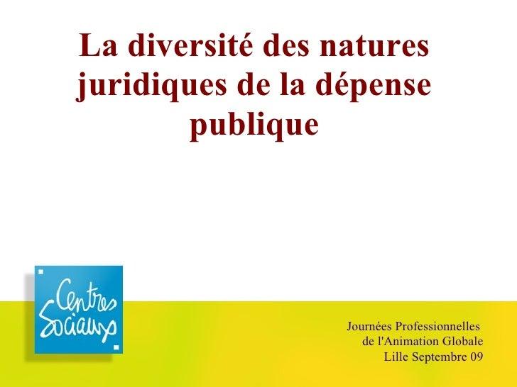 La diversité des natures juridiques de la dépense publique Journées Professionnelles  de l'Animation Globale Lille Septemb...