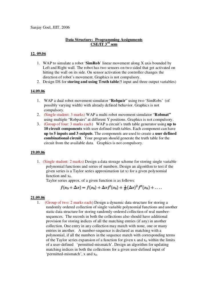 Sanjay Goel, JIIT, 2006                     Data Structure: Programming Assignments                                  CSE/I...