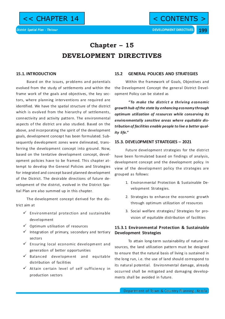 << CHAPTER 14                                                                   < CONTENTS >District Spatial Plan - Thriss...