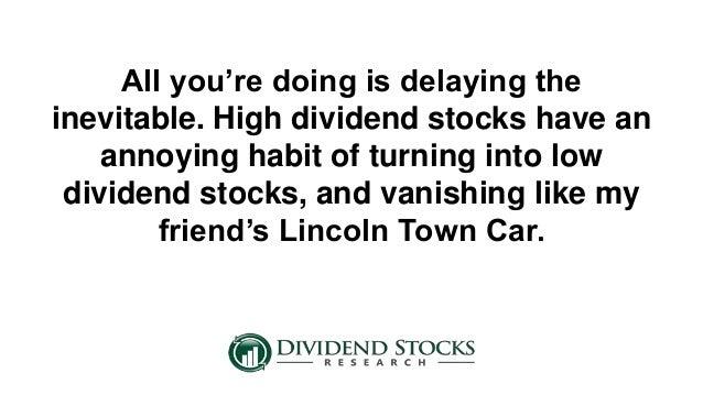 When high dividend stocks melt down for High div stocks
