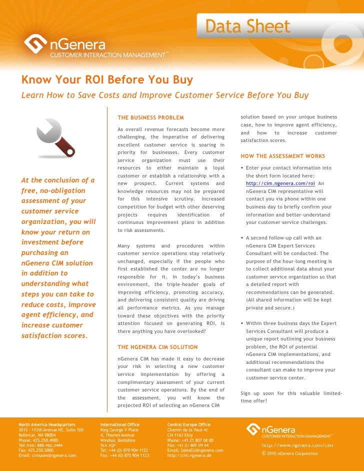 Know Your ROI Before You Buy Learn How to Save Costs and Improve Customer Service Before You Buy                          ...