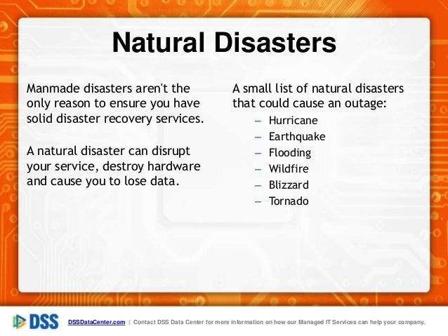 List Of Natural Disasters Threats To Data Center