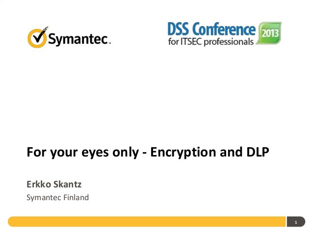 DSS ITSEC 2013 Conference 07 11 2013 - For your eyes only