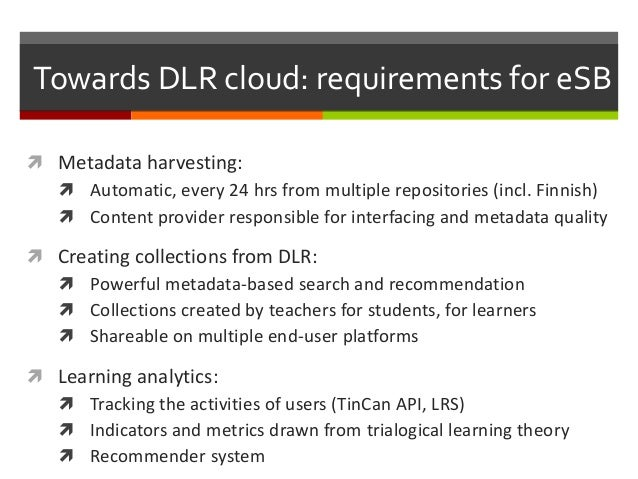 Towards DLR cloud: requirements for eSB  Metadata harvesting:  Automatic, every 24 hrs from multiple repositories (incl....