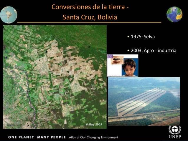 Conversiones de la tierra Santa Cruz, Bolivia • 1975: Selva • 2003: Agro - industria