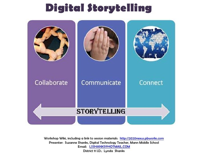Digital Storytelling<br />Workshop Wiki, including a link to session materials:  http://2020nexus.pbworks.com<br />Present...