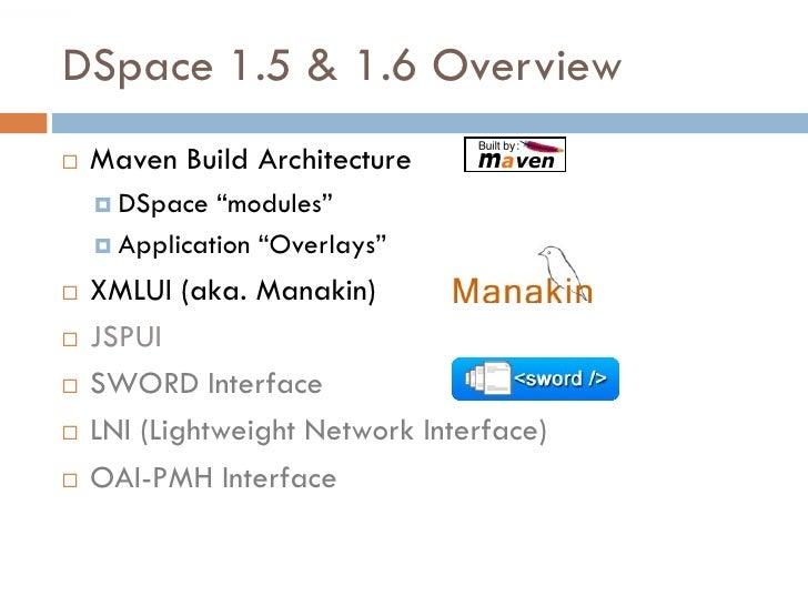 """DSpace 1.5 & 1.6 Overview    Maven Build Architecture      DSpace  """"modules""""      Application """"Overlays""""     XMLUI (ak..."""