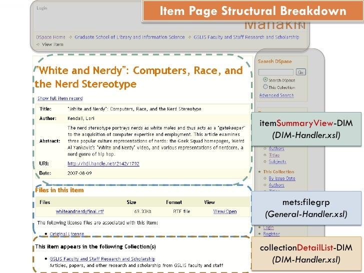 Item Page Structural Breakdown                     itemSummaryView-DIM                    (DIM-Handler.xsl)               ...