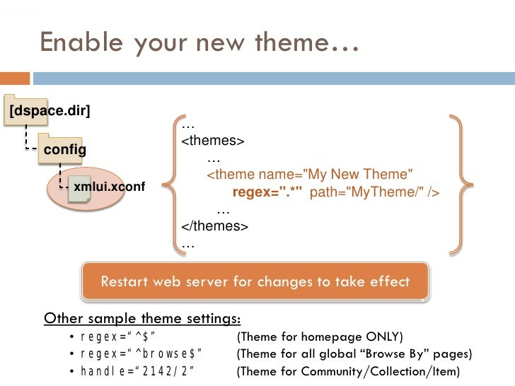 Enable your new theme…  [dspace.dir]                           …                           <themes>      config           ...