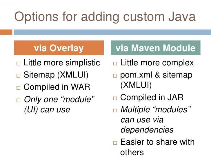 Options for adding custom Java        via Overlay            via Maven Module    Little more simplistic      Little more...