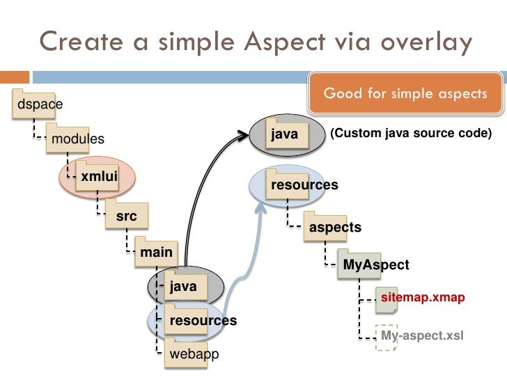 Create a simple Aspect via overlay                                            Good for simple aspects dspace      modules ...