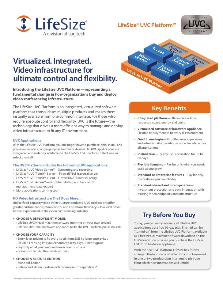 LifeSize® UVC Platform™Virtualized. Integrated.Video infrastructure forultimate control and flexibility.Introducing the Li...